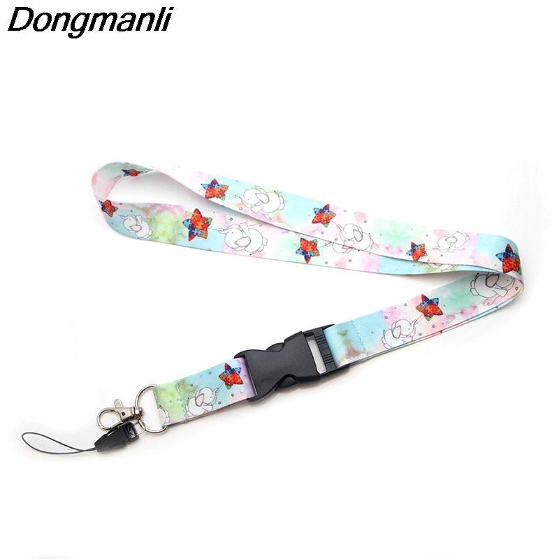P2803 Dongmanli Elephant Rainbow Autism Awareness Lanyard Badge ID Lanyards/ Mobile Phone Rope Neck Straps Keychain