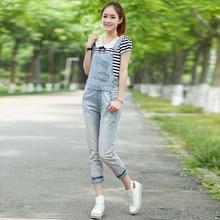 Джинсовый комбинезон на подтяжках Modis, женский корейский стиль, свободные прямые брюки