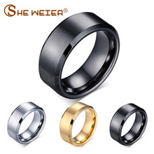 SHE WEIER silver black rose gold girls finger element men ring tungsten stainless steel male rings jewelry accessories(China)
