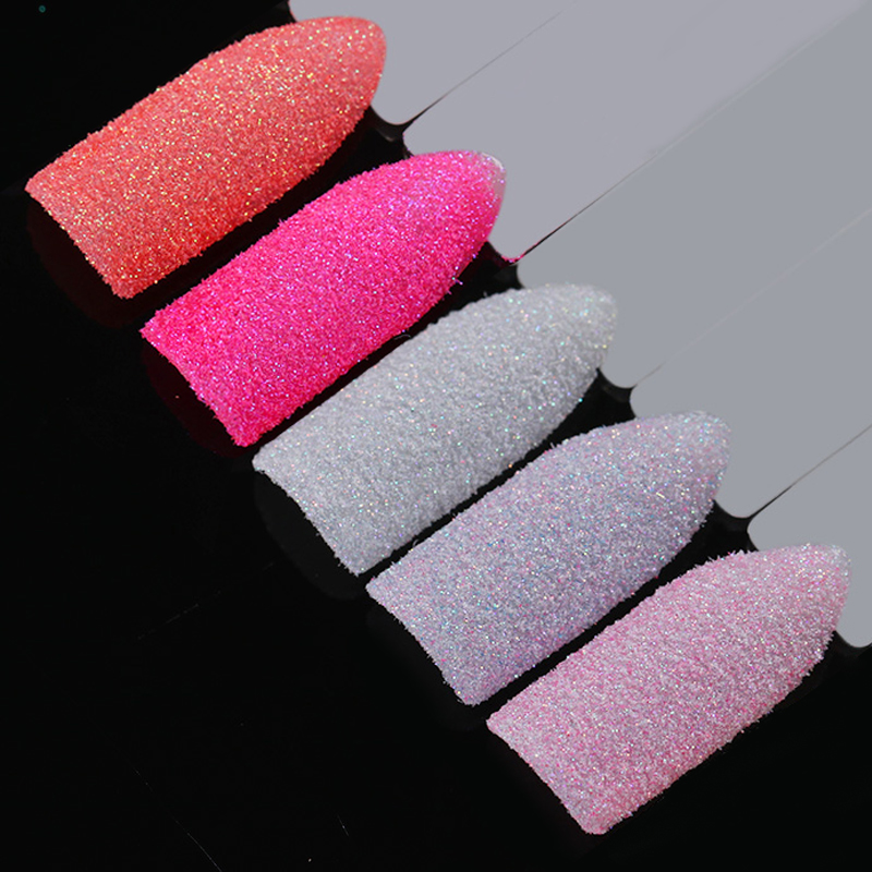 5 Boxes Holographic Nail Sugar Sandy Glitter Powder Set Summer Color Pigment Dust Manicure Nail Art