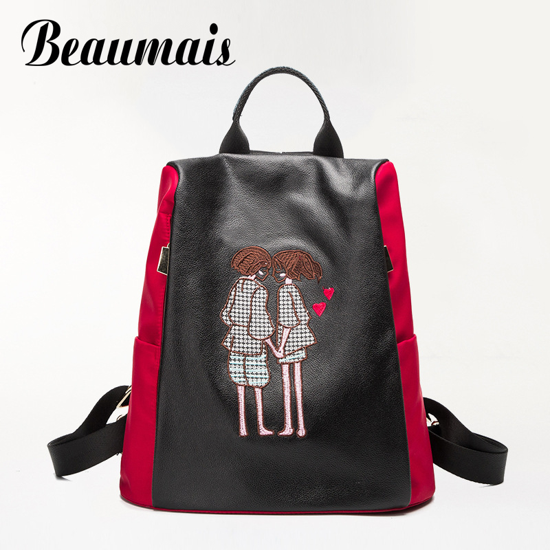 Beaumais Genuine Leather and Oxford Backpacks School Bags For Teenagers Girls Embroidery Leather Backpacks Shoulder Bags