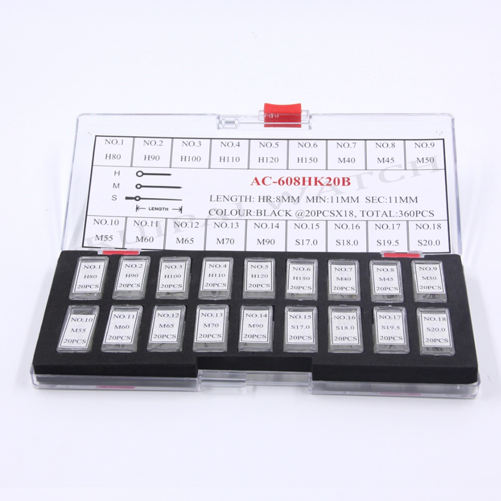 360PCS Black Hour 8mm/Minute 11mm /Second 11mm Hand Set For Watch Repair Free Shipping