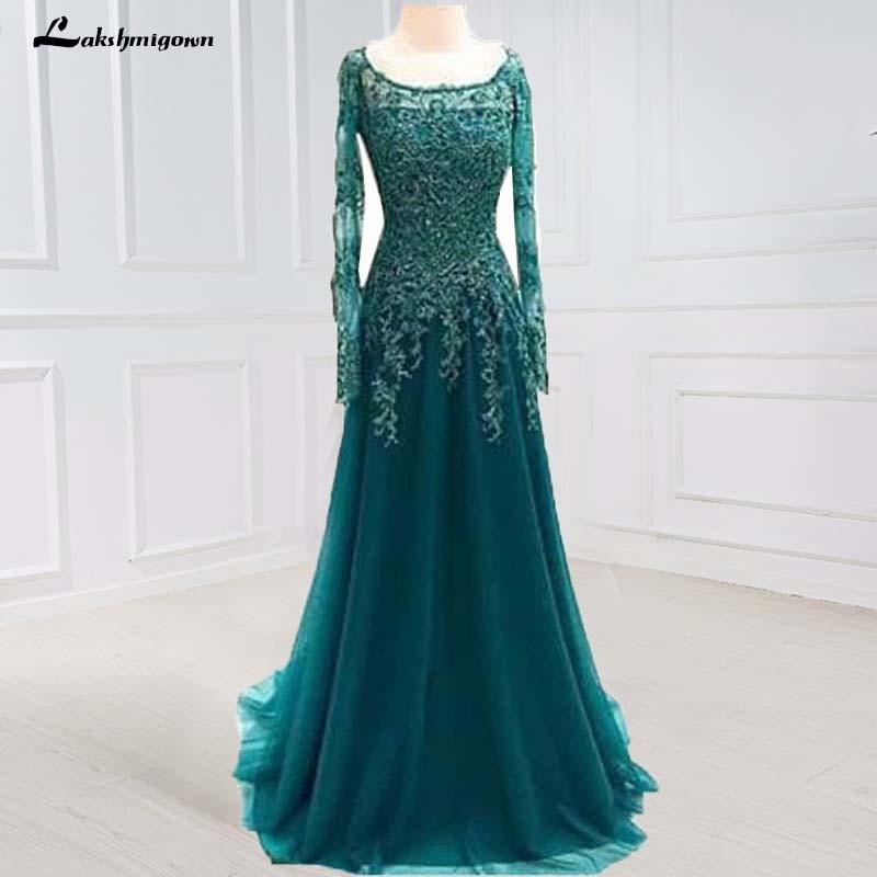 Scoop Beaded Lace A Line Blue Long Sleeves Appliques Mother Of The Bride Dresses Plus Size Vestido De Madrinha