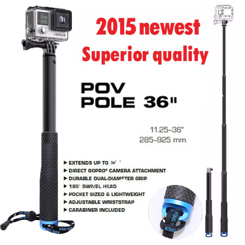 gopro aluminum extendable selfie stick monopod for gopro go pro hero 4 3 3 2. Black Bedroom Furniture Sets. Home Design Ideas