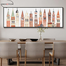 European Retro Famous Architecture Abstract American Nordic Bedside Decorative Painting Unframed Wall Art On Canvas