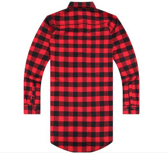 Casual Shirts Mens Streetwear Tyga Plaid Shirt Cotton Blouse With Extend Back And Gold Side Zip Fashion Hip Hop Streetwear For Men