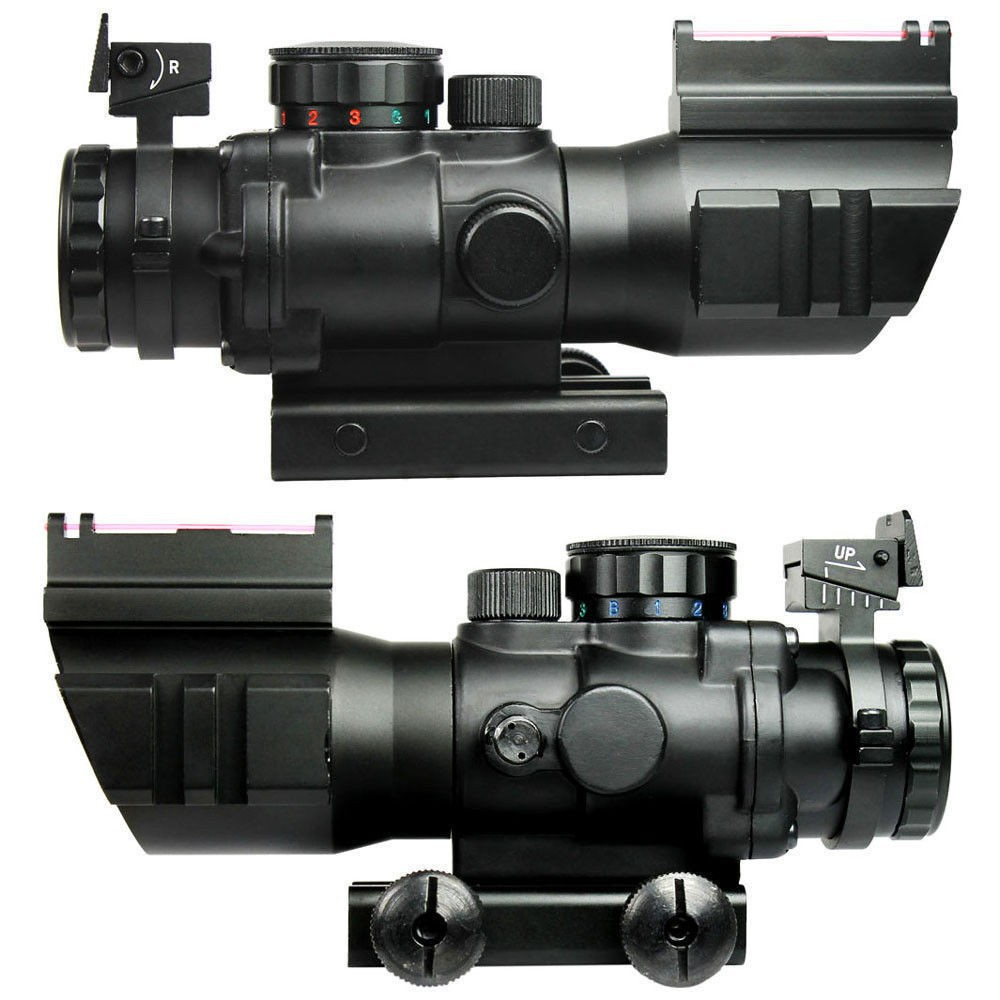 4X32 Tactical Rifle Scope W/ Tri-Illuminated Chevron Reticle Fiber Optic Sight Scope Rifle Airsoft Hunting Rifle Scope