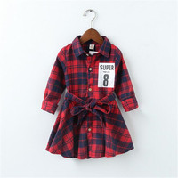 Baby Girl Dress Europe And America Style Dress Applique Number Plaid Long Sleeve Dress Baby Girl
