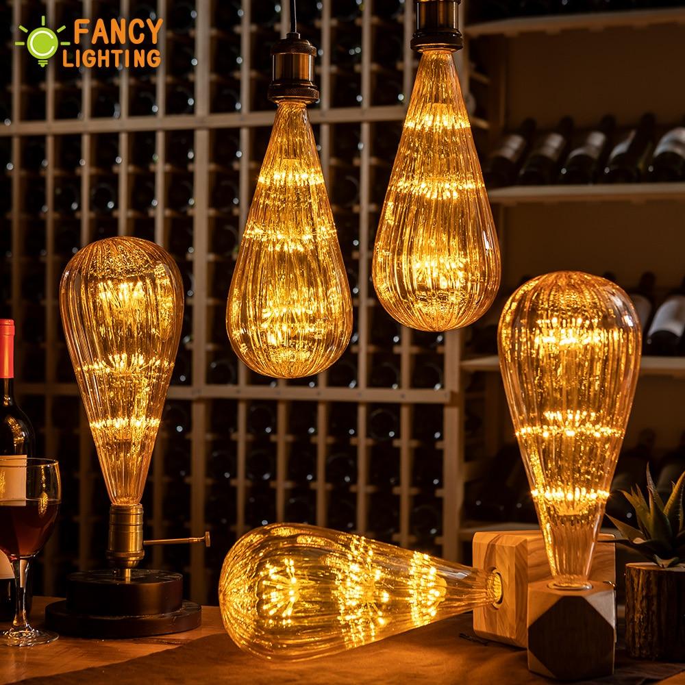 Led bulb E27 Zucchini Starry Sky Lamp 90-260V Dimmable lampada Led For home/Living room/bedroom/Christmas Decor 3W Retro ampul