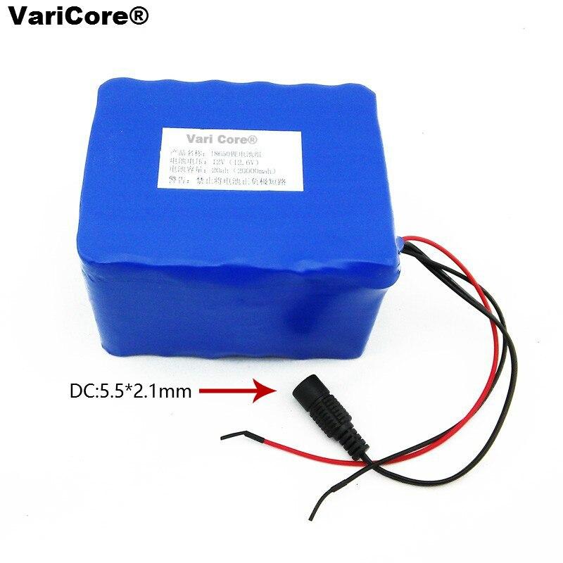 Batterie au lithium 12 V 20000 mAh 18650 batterie de mineur 35 w 55 w batterie au xénon + chargeur polymère 12.6 V 3A