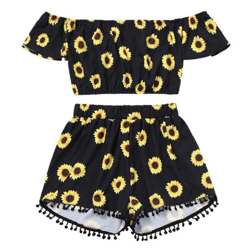 Casual 2 Two Piece Set Women Sunflower Print Summer Off The Shoulder Crop Top Shorts 2018 Beachwear Women Set