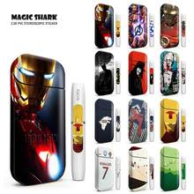 Magic Shark Iron Man Spider Bat Man Vendetta Sticker Clown Girl Skin for IQOS 2.4 Plus Case Electronic Cigarette Cover(China)