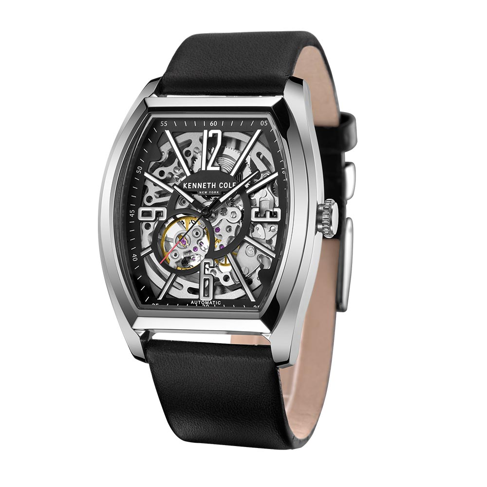 b01c1bff0 Aliexpress.com : Buy Kenneth Cole Mens Mechanical Watches Black Leather  Buckle Large Square Dial Automatic Self Top Luxury Brand Watches KC1750  from ...