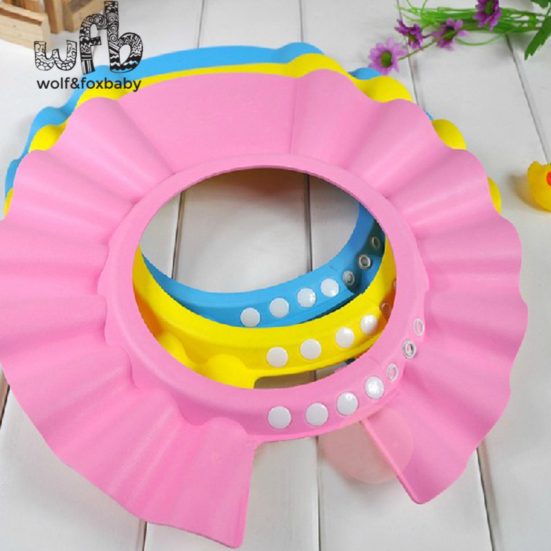 Retail Adjustable Shower caps protect Shampoo for baby health Bathing bath waterproof kid children Wash Hair Shield Hat