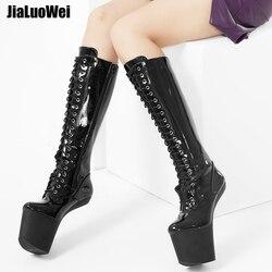 jialuowei 8 inch High heel Slugged Bottom Hoof boots with no-heel Heelless platform sexy knee high boots Plus size 36-46
