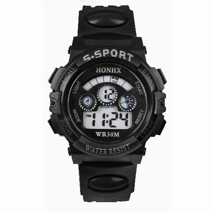 Digital watch Waterproof Mens Boy's Digital LED Quartz Alarm Date Sports Wrist Watch