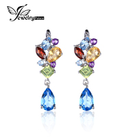 JewelryPalace Fashion 4ct Multicolor Natural Blue Topaz Amethyst Citrine Garnet Peridot Drop Dangle Earrings 925 Sterling