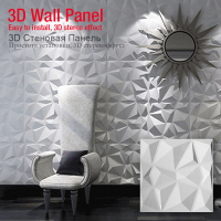 9 PCS 30x30cm 3D Wallboard Geometric Cut Diamond Wood Carved Wall Sticker 3D Background Wall Sticker Decor Panel House Decor