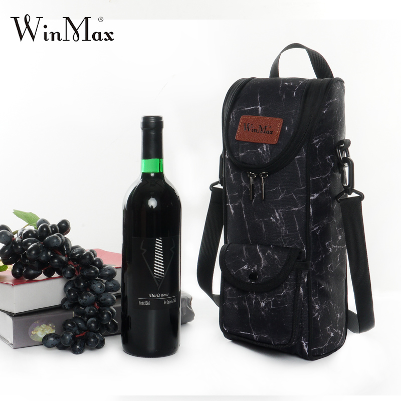 Winmax Aluminum Foil Wine Champagne Cooler Bag For Men Reusable Wine Insulated Bag Gifts 1-2 Bottle Bevergae Holder Carrier Tote