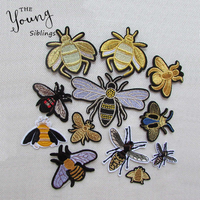 Sewing Clothes Patch High Quality Iron On Embroidery Patches Hotfix Applique Motifs Sew On Garment Stickers Crown Bee New