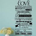 Bible Wall Stickers - Love Is Patient Scripture Quote Wall Decal Bible Verses Wall Art Decor