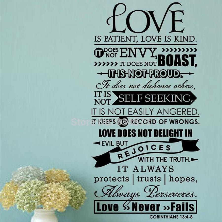 Bible Wall Stickers - Láska je trpělivý Písmo Citace Wall Decal Bible Veres Wall Art Decor