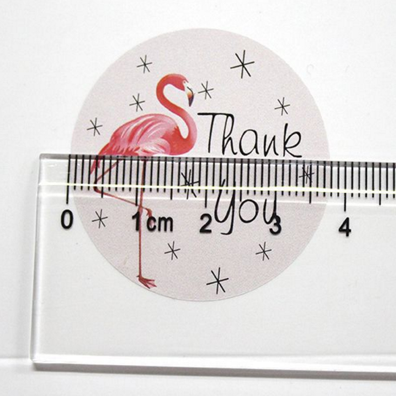 Купить с кэшбэком 120pcs/lot cute flamingo round thank you series seal sticker DIY note gift package labels for baking product
