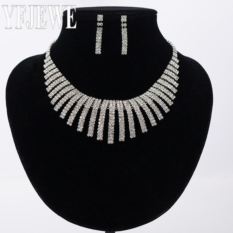 Nové bílé šperky sady pro ženy rakouský drahokamu náhrdelník náušnice sada zlaté barvy svatební party příslušenství