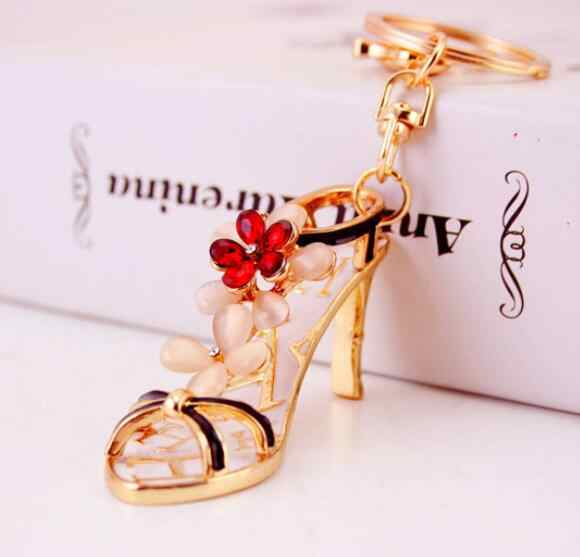 High heels Red crystal flowers keychain - New Product Fancy Metal High Heel Shoe Model Keychain Keyring For Gift #1-17206