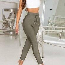 дешево!  2019 новые женские повязки с завышенной талией Тонкие эластичные брюки-карандаш с кисточками Лучший!