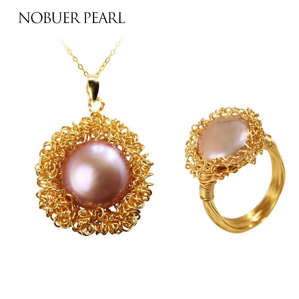 Nobuer 14KGF Handmade Winding Design Freshwater Pearl Jewelry Set Pearl Pendant & Pearl RingFor Women Trendy Pearl Fine Jewelry