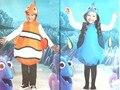 Бесплатная доставка, дети kid halloween party косплей фильм клоун Поисках Немо синий Поиск Дори Дори костюм с шляпу одежды