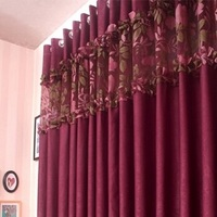 Free shipping Splice cloth and gauze tulle yarn Thick purple French window kitchen curtains for living room bedroom customize