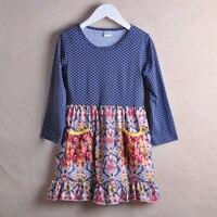 CONICE NINI Toddler Style Girl Dresses Polk Dot Design Blue Princess Costume Navy Blue Print Dress Kids Remake Clothes CX009