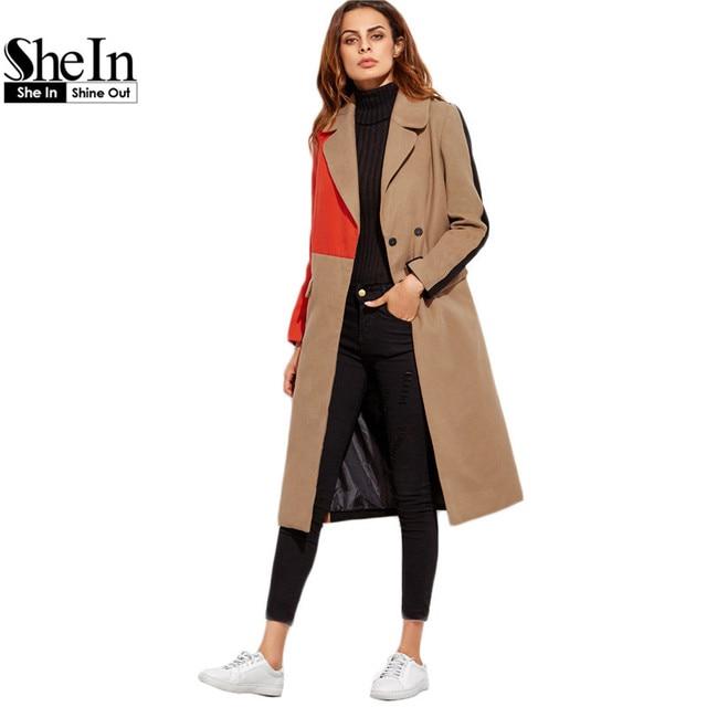 Шеин Зимнее Пальто Женщины Двойной Брестед Длинные Пальто Для Женщин Корейских Женщин Мода Одежда Зима Цвет Блока Пальто