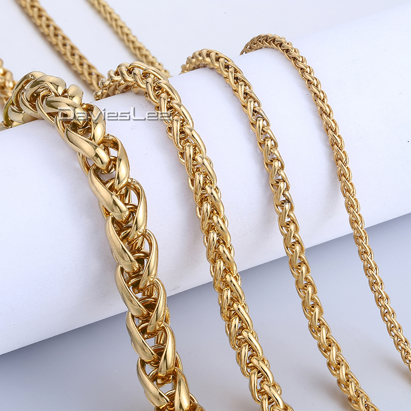 Davieslee Mens Necklace Braided Wheat Link Gold Color Stainless Steel Chain Customized Wholesale Jewelry 3/3.5/6/9.5mm LKN448