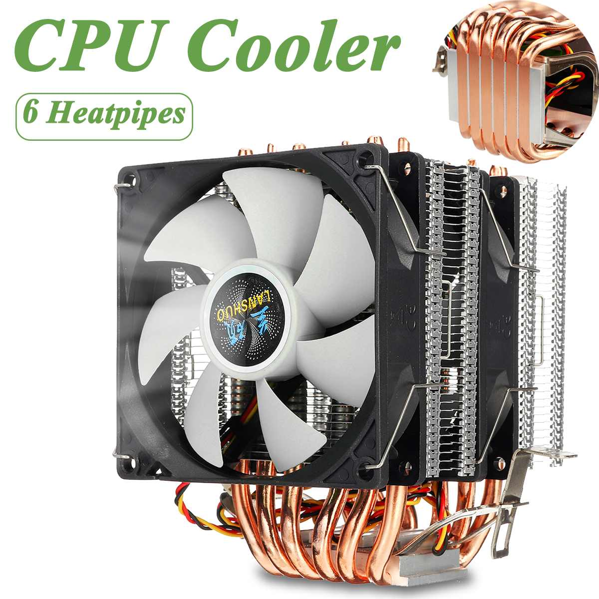 CPU Cooler 6 Heat Pipes 3pin Dual Fan Cooler Quiet Cooling Fan Heatsink Radiator for LGA 1150/1151/1155/1156/1366/775 for AMD image