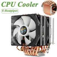Enfriador de CPU 6 tubos de calor 3pin doble refrigerador ventilador tranquilo disipador térmico del ventilador de refrigeración del radiador para LGA 1150/1151/1155/1156/1366/775 para AMD
