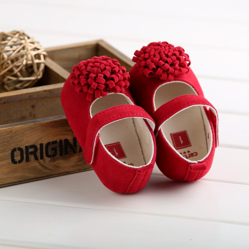 Candy Solid Floral Princess Shoes Baby Soft Bottom Anti-slip Shoes Footwear Classic Girl Crib Toddler  Mary Jane Big Flower Shoe