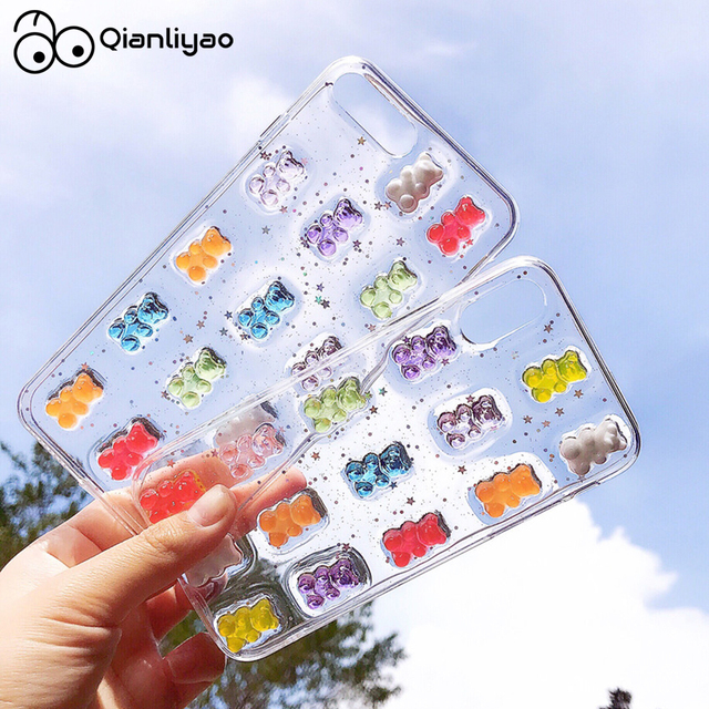 Qianliyao Cute 3D Candy Colors Bear Phone Case for iphone X XS Max XR 8 7 6 6S plus 11 12 Pro Max Se 2020 Glitter Soft Cover