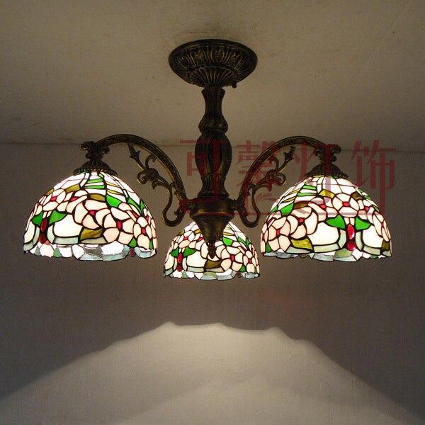 3 Kopf Amerikanischer Rustikalen Tiffany Glas Deckenleuchte Wohnzimmer Leuchtet Restaurant Lampe Schlafzimmer Licht Lichter Kostenloser