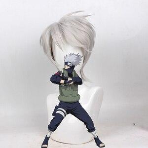 Image 2 - NARUTO hatake kakashi srebrny szary krótki peruka do cosplay włosy syntetyczne kostium na halloween peruki na przyjęcie + czapka z peruką