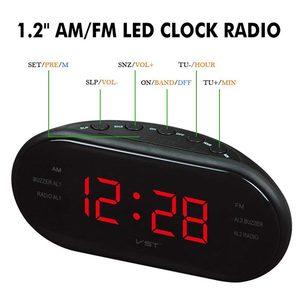 Image 3 - AM/FM LED שעון רדיו עם אזעקות כפולה שינה נודניק פונקציה לשקע מופעל גדול ספרות תצוגה עבור שינה מתוזמן כיבוי