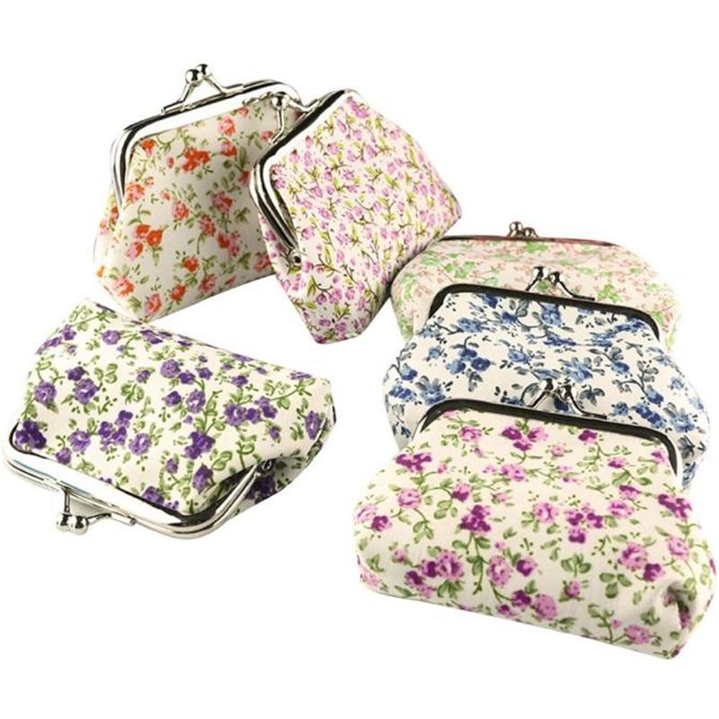 Wallets New Fashion Women Coin Purses Lady Retro Vintage Flower Small Wallet Hasp Purse Clutch Bag Female Bags Random Color