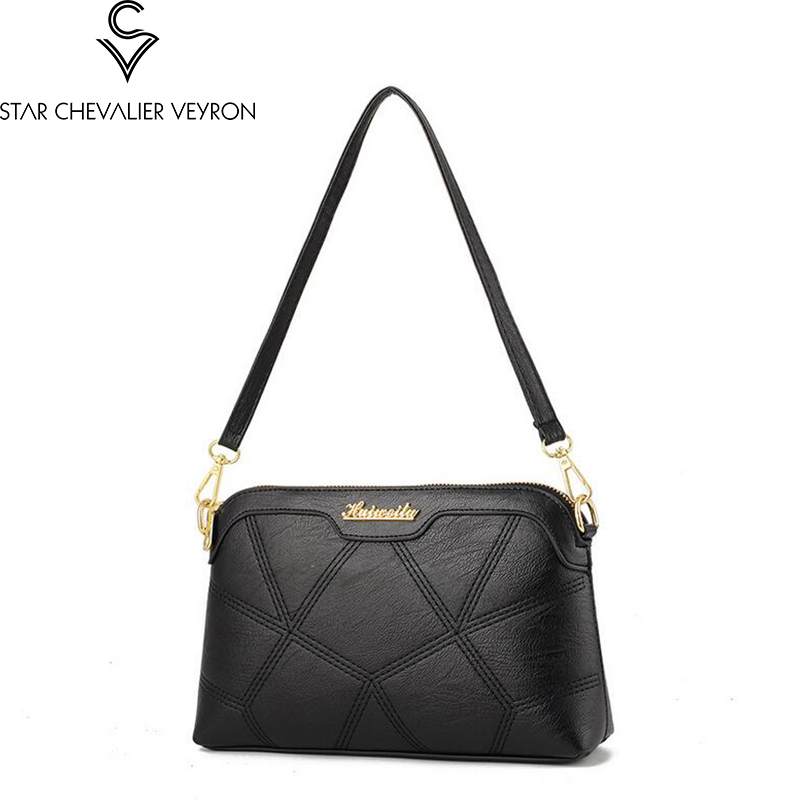 2019 SCV 5 new colors high quality pu leather women handbags fashion trend women shoulder bags simple solid handbags in Shoulder Bags from Luggage Bags