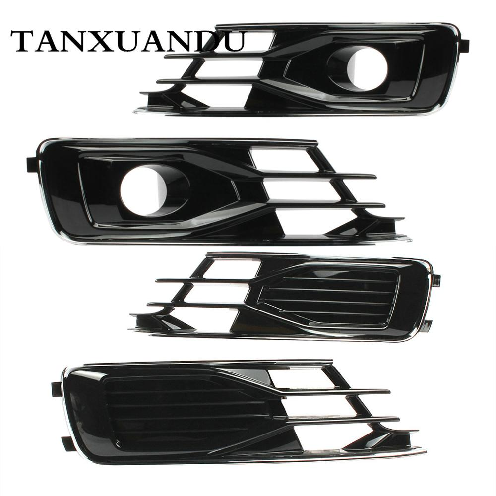 Front Bumper Lower Grill Grille ACC Hole Trim Piano Paint Fit For AUDI A6 C7 5