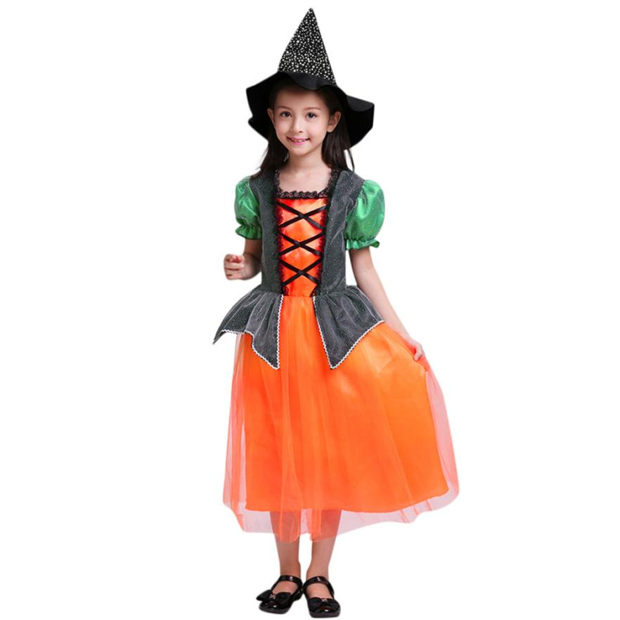 Arloneet Toddler Kids halloween costume Baby Girls Halloween Clothes Dress Party Dresses+Hat+Bag Outfits l0730