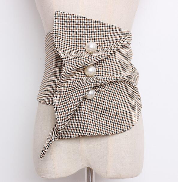 Women's Runway Fashion Wide Checked Cummerbunds Female Vintage Dress Corsets Waistband Belts Decoration Wide Belt R1901