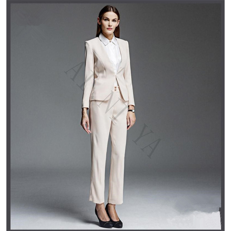 Hot Sale Womens Business Suits Formal Work Wear OL Lady Trouser Suit Female Office Uniform Ivory 2 Piece Suits Single Breasted