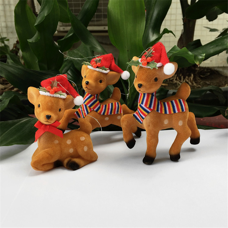 3pcs/set Cute Deer Gifts Flocking+Plastic Sika Deer with Christmas Hat Home Desk Ornaments Christmas Tree Pendants Decoration